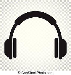 auricular, illustration., empresa / negocio, vector, auriculares, fondo., señal, simple, audífono, icon., aislado, plano, concepto, pictogram