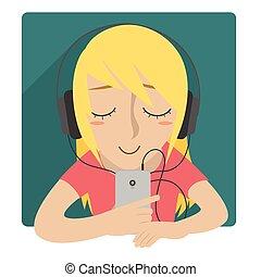 auricular, mujer, escuchar, música