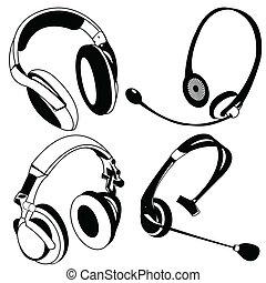auricular, negro, iconos