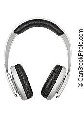 auriculares, aislado, blanco, plano de fondo