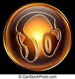auriculares, aislado, fondo., negro, dorado, icono