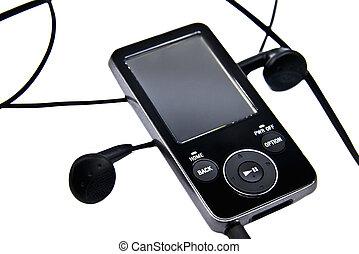 auriculares, aislado, jugador, mp3, plano de fondo, blanco