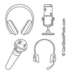 auriculares, arte, colección, vario, negro, línea, blanco