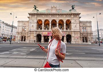 auriculares, austria, joven, ópera, estado, música, frente, ...