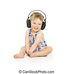 auriculares, bebé, escuchar, niño, pequeño, música