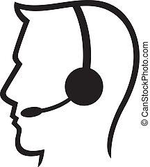 auriculares, c, símbolo, (man, llamada, auriculares