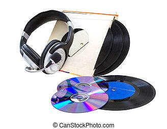 auriculares, cds, registros de vinilo