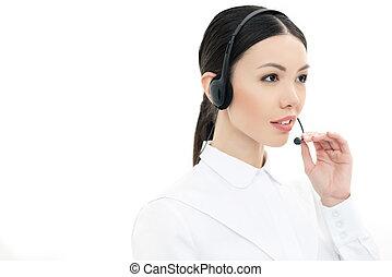 auriculares, centro, aislado, llamada, operador, retrato, blanco
