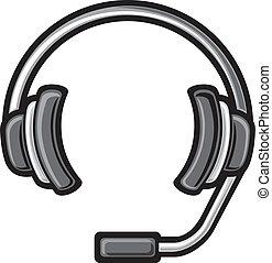 auriculares, centro de la llamada