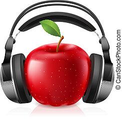 auriculares, computadora, manzana, rojo, realista