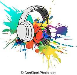 auriculares, con, colorido, salpicaduras
