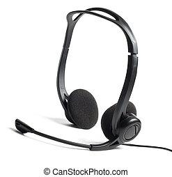 auriculares, con, micrófono, aislado, blanco
