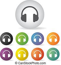 auriculares, conjunto, icono