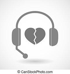 auriculares, corazón, ayuda, icono, remoto, roto