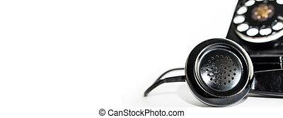 auriculares, esfera, viejo, teléfono rotatorio, bandera