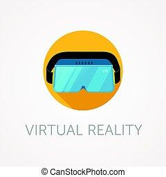 auriculares, estilo, plano, realidad virtual, vr, vidrio.,...