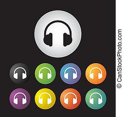 auriculares, icono, conjunto