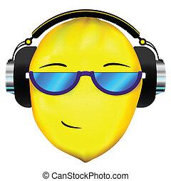 auriculares, limón, cara