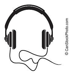 auriculares, música, icono