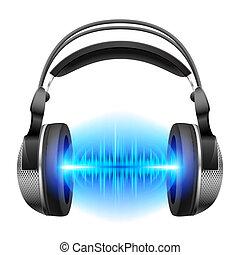 auriculares, música, juego
