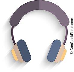 auriculares, plano, diseño, aislado, blanco, fondo., vector