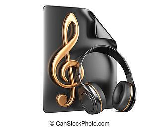 auriculares, playlist, y, notas, -, concepto, de, un, música