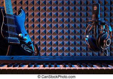 auriculares, profesional, micrófono, guitarra, piano, ...