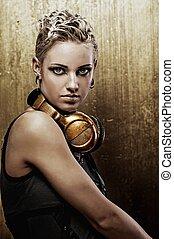 auriculares, punk, atractivo, retrato, niña, vapor