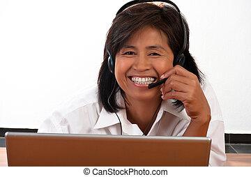 auriculares, retrato de mujer