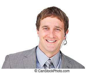 auriculares, servicio, seguro, cliente, agente
