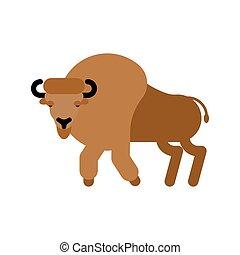 aurochs, isolated., zubr., illustrazione, bull., vettore, bisonte, selvatico, bufalo