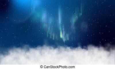 Aurora above clouds in night sky
