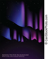 Aurora background - Night sky with stars and aurora borealis