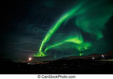aurora boreal, y, el, levantamiento, luna, cerca, nuuk, ciudad, groenlandia
