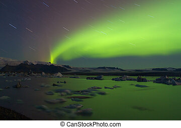 Aurora borealis above Jokulsarlon