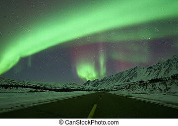 Aurora Borealis above road