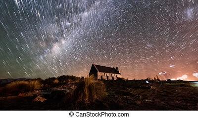 Aurora Borealis and Star Trails, Good Shepherd Church. Pan...