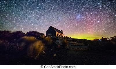 Aurora Borealis and Star Trails, Good Shepherd Church. Zoom In
