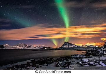 Aurora Borealis at Sandnes in Flakstad, lofoten islands
