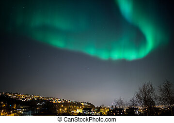 True geomagnetic storm in Norway, cityscape of Trondheim.