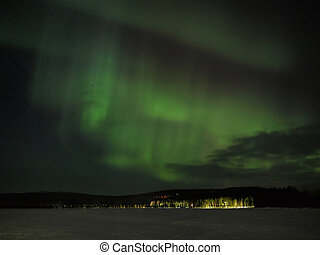 Aurora borealis display