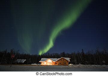 Aurora Borealis in alaskan night