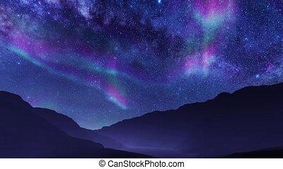 Aurora Borealis in night sky at mountain landscape - ...