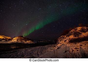 Aurora Borealis near Tromsoe, Norway
