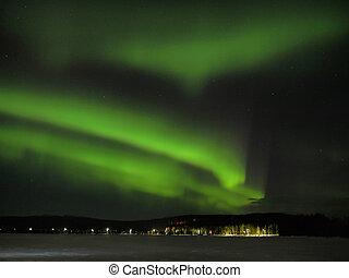 Aurora borealis - Northern lights (aurora borealis) display...