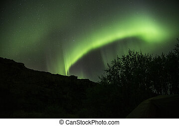 Aurora Borealis, Northern Lights, Green, Iceland