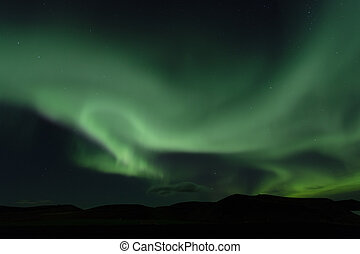 Aurora borealis. Northern lights in Iceland Myvatn
