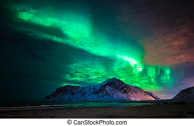Aurora borealis (northern lights) over Skagsanden beach. Lofoten Islands, Norway