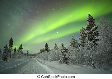 Spectacular aurora borealis (northern lights) over a track through winter landscape in Finnish Lapland.