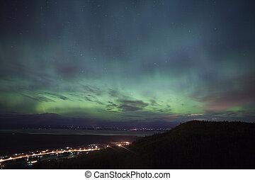 Aurora Borealis over alaskan towns